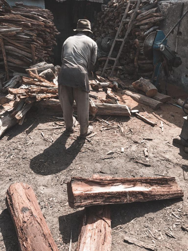 En træhugger der hugger i skadet træ