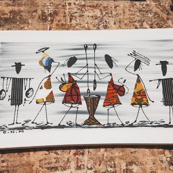Et maleri af seks mennesker